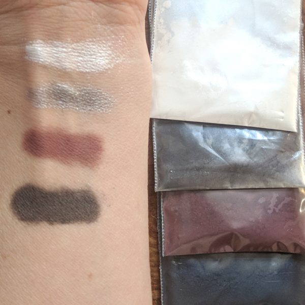 "Rich results on Google's SERP when searching for ""make eyeshadow"" displaying the four colors of the organic, DIY make your own eyeshadow palette called smokey eye with white silver burgundy and deep grey eyeshadow colors eyeshadow"