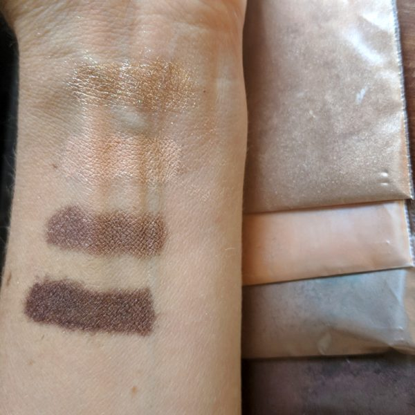 "Rich results on Google's SERP when searching for ""make eyeshadow"" displaying the four colors of the organic, DIY make your own eyeshadow palette called golden neutrals including highlighting color mid tone color crease shadow and deep brown eyeshadow"