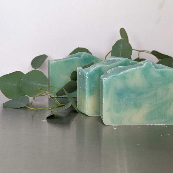 eucalyptus handmade organic soap three bars with eucalyptus leaves made by hand pale green and ivory swirled soap
