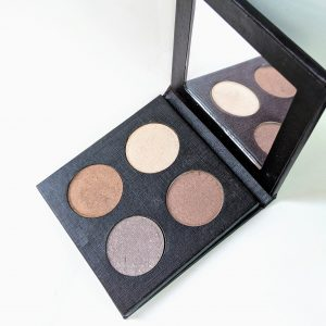 "Rich results on Google's SERP when searching for ""custom palette"" four color eyeshadow palette with four brown eyeshadows in golden neutral tones in a recyclable black palette with mirror"